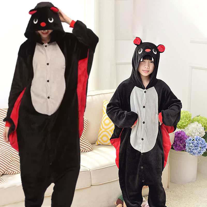 Family Kigurumi Pajamas Halloween Bat Animal Onesie Cosplay Costume Pajamas For Kids and Adults