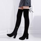 Women Classic Zipper Sexy Over The Knee Suede 8cm High Heel Boots