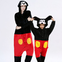 Family Kigurumi Pajamas Black and Red Mickey Mouse Animal Onesie Cosplay Costume Pajamas For Kids and Adults