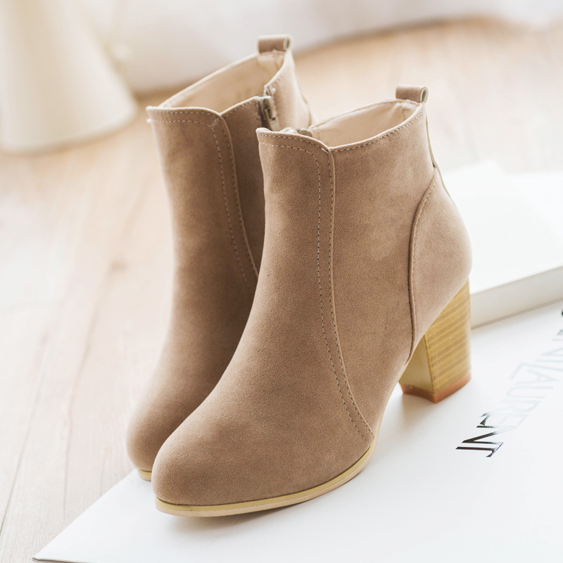 Women's Outside Shoes Side Zipper Frosted Leather Martin Top Block Heel Booties Short Suede Boots