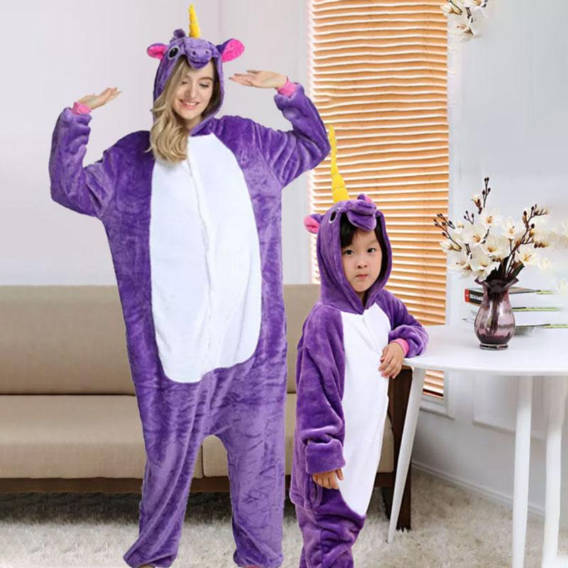 Family Kigurumi Pajamas Purple Unicorn Animal Onesie Cosplay Costume Pajamas For Kids and Adults