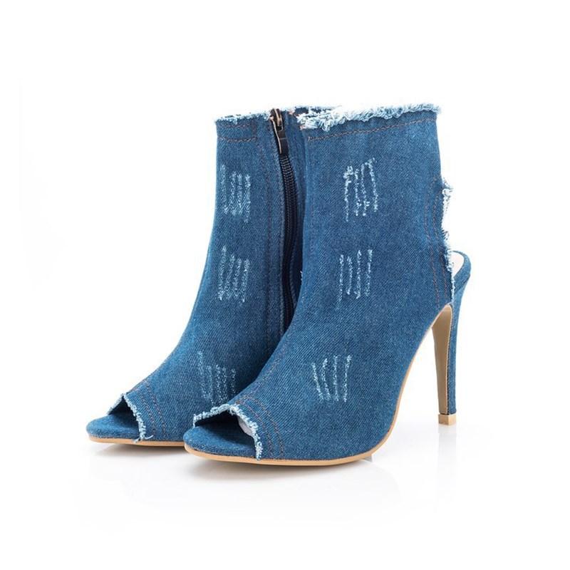 Women's Fashion Stretch Denim Peep-toe High Heels Boots Booties