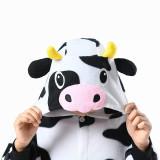 Family Kigurumi Pajamas White and Black Cow Animal Onesie Cosplay Costume Pajamas For Kids and Adults