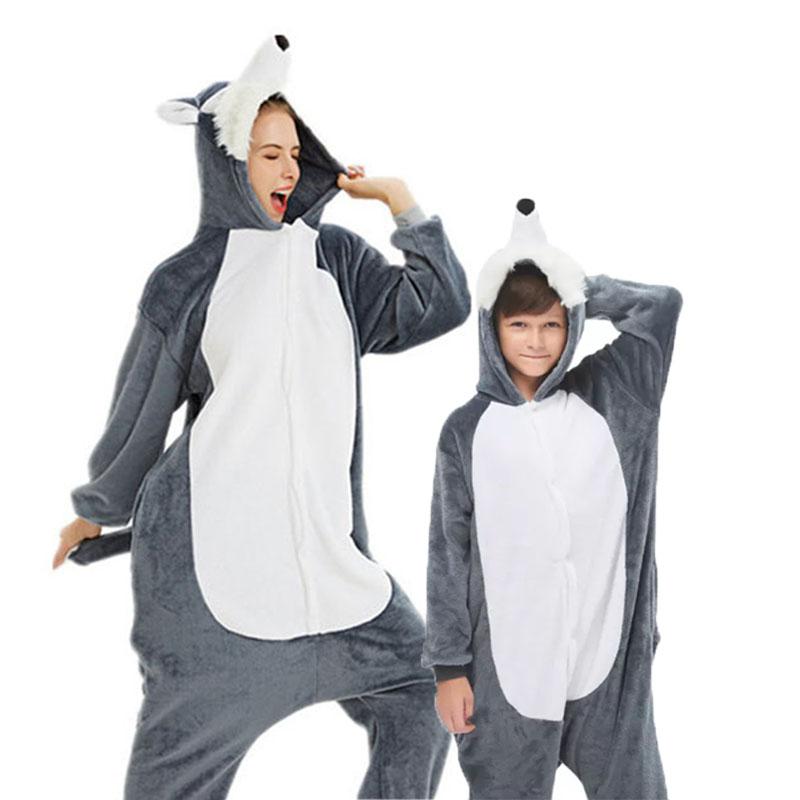 Family Kigurumi Pajamas 3D Grey Plush Husky Dog Animal Onesie Cosplay Costume Pajamas For Kids and Adults
