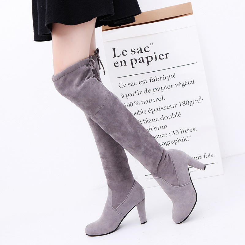 Women Over The Knee High Suede Snow Boots Winter Thigh High Tie Pointy Boots