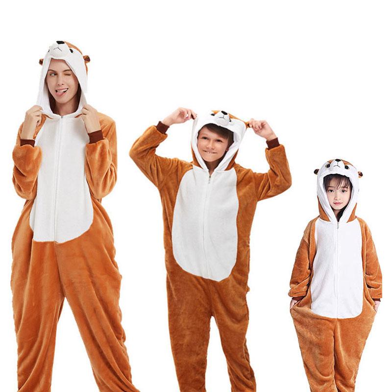 Family Kigurumi Pajamas Brown Mongoose Animal Onesie Cosplay Costume Pajamas For Kids and Adults