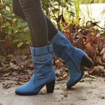 Women's Outside Shoes High Heel Denim Mid-tube Boots Booties