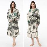Print USA Dollars Soft Bathrobe Sleepwear Comfortable Loungewear With Hooded