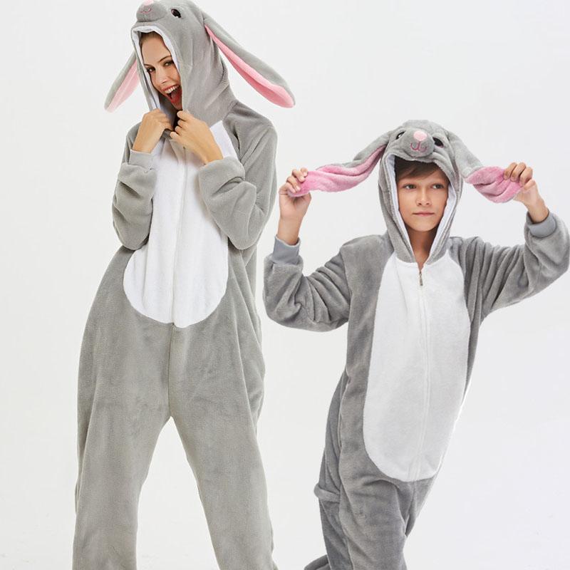 Family Kigurumi Pajamas Grey Rabbit Animal Onesie Cosplay Costume Pajamas For Kids and Adults