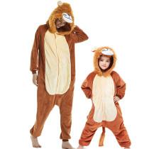 Family Kigurumi Pajamas Brown Lion Animal Onesie Cosplay Costume Pajamas For Kids and Adults