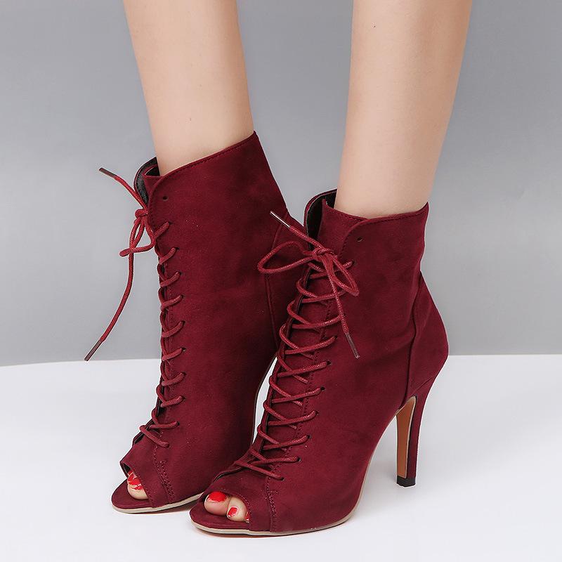 Women's Fashion Peep-toe Open Toe Gladiator Lace Up High Heels Boots