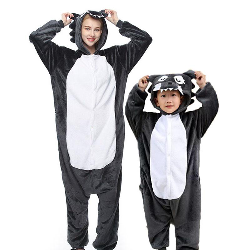Family Kigurumi Pajamas Grey Wolf Animal Onesie Cosplay Costume Pajamas For Kids and Adults
