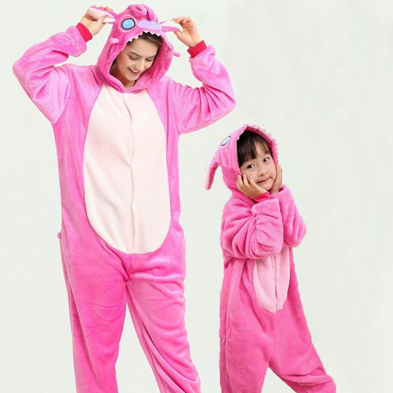 Family Kigurumi Pajamas Cartoon Pink Stitch Animal Onesie Cosplay Costume Pajamas For Kids and Adults