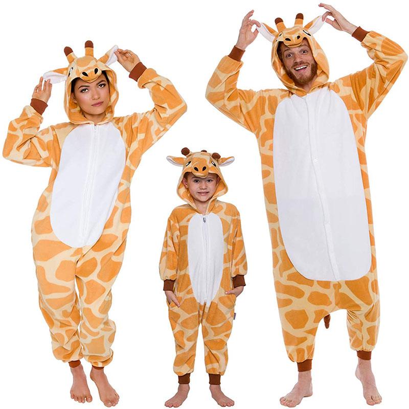 Family Kigurumi Pajamas Giraffe Animal Onesie Cosplay Costume Pajamas For Kids and Adults