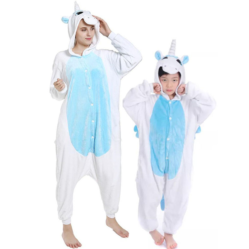Family Kigurumi Pajamas Blue and White Unicorn Onesie Cosplay Costume Pajamas For Kids and Adults