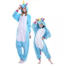Family Kigurumi Pajamas Blue Unicorn Animal Onesie Cosplay Costume Pajamas For Kids and Adults