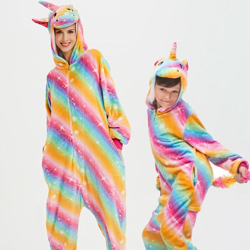 Family Kigurumi Pajamas Rainbow Stars Unicorn Animal Onesie Cosplay Costume Pajamas For Kids and Adults