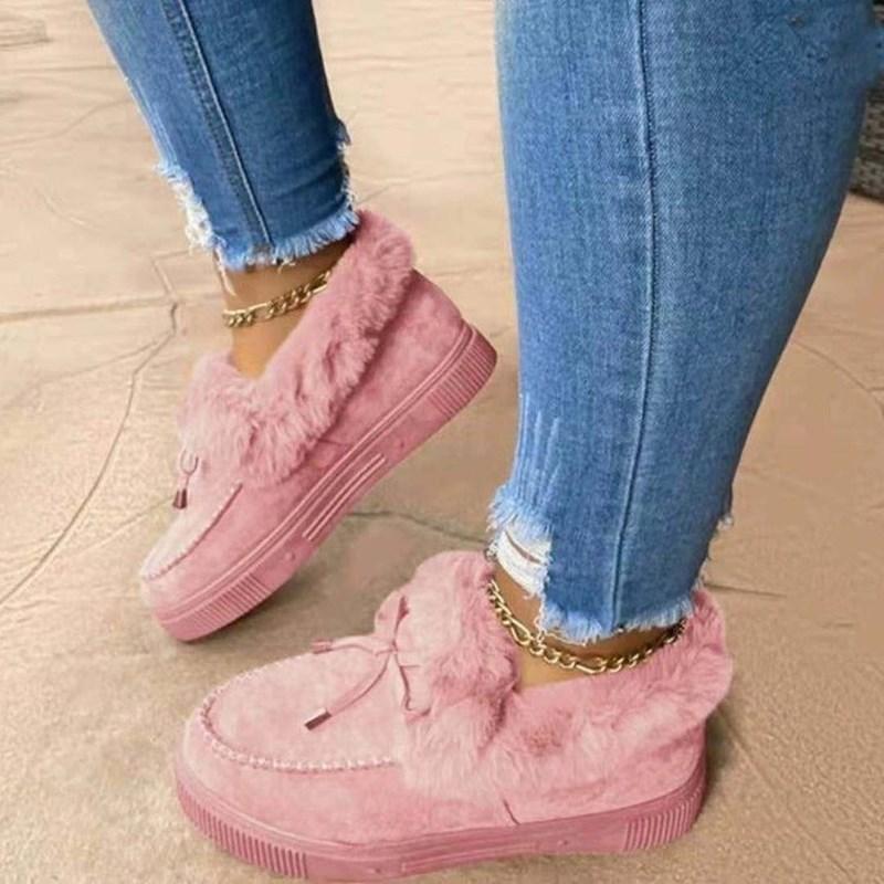 Women Bowknot Berber Fleece Snow Flat Boots