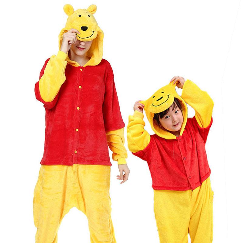 Family Kigurumi Pajamas Yellow Cartoon Winnie the Pooh Onesie Cosplay Costume Pajamas For Kids and Adults