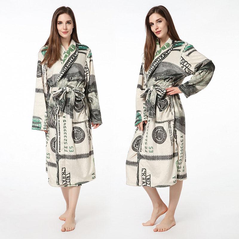 Print USA Dollars Soft Bathrobe Sleepwear Comfortable Loungewear