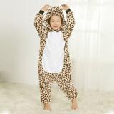 Family Kigurumi Pajamas Lights Brown Leopard Animal Onesie Cosplay Costume Pajamas For Kids and Adults