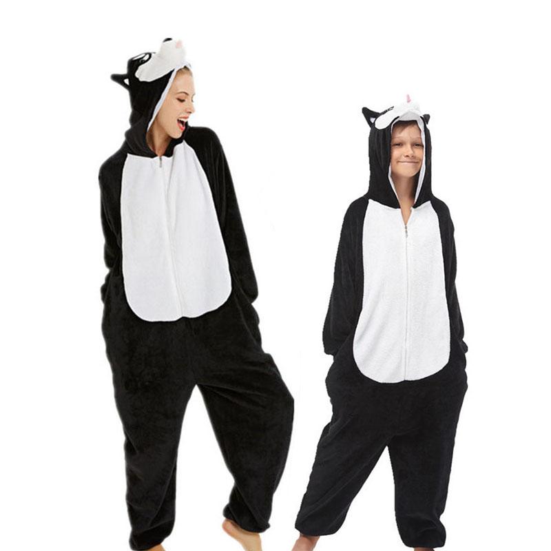Family Kigurumi Pajamas Black Husky Dog Animal Onesie Cosplay Costume Pajamas For Kids and Adults