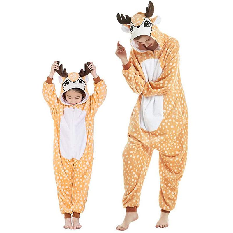 Family Kigurumi Pajamas Orange Sika Deer Animal Onesie Cosplay Costume Pajamas For Kids and Adults