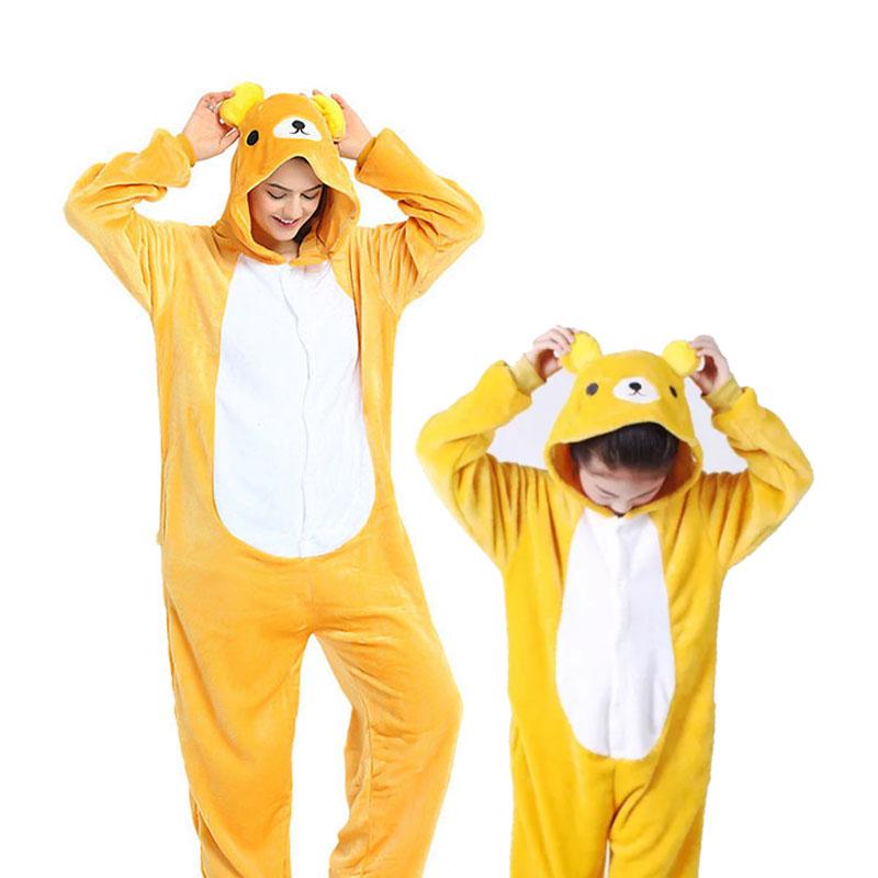 Family Kigurumi Pajamas Yellow Bear Animal Onesie Cosplay Costume Pajamas For Kids and Adults