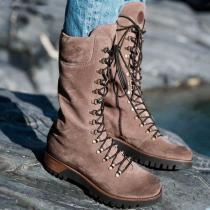 Women Round Toe Lace-up Suede Boots