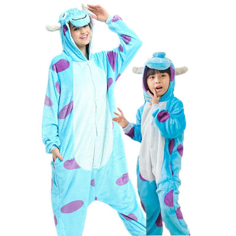 Family Kigurumi Pajamas Blue Dots Cow Animal Onesie Cosplay Costume Pajamas For Kids and Adults
