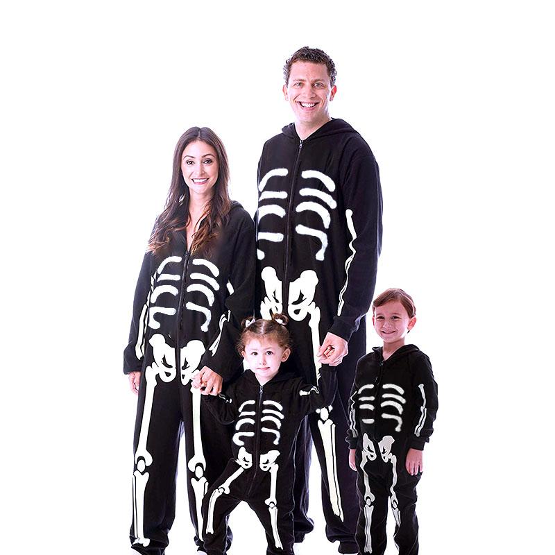 Family Kigurumi Pajamas Human Skeleton Onesie Cosplay Costume Pajamas For Kids and Adults