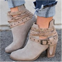 Women's Outside Boots High Thick Heel Hollow Out Round Toe Lace Booties Ladies Short Suede Boots