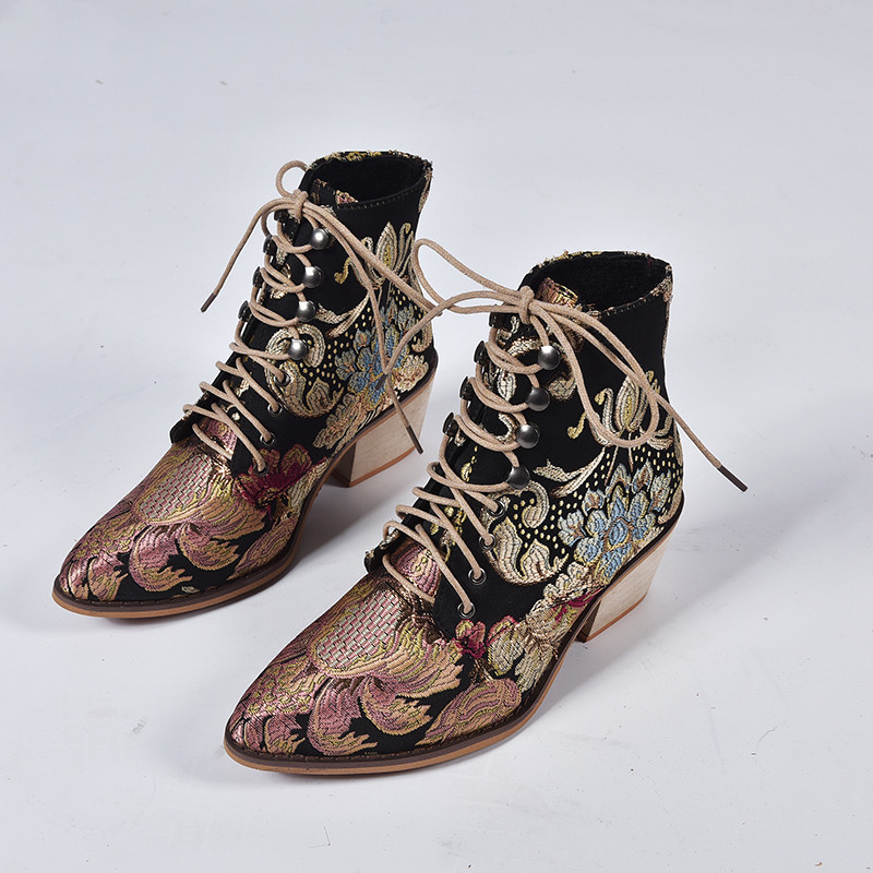 Women's Outside Shoes Chunky Heel Embroidered Flowers Short Boots Booties