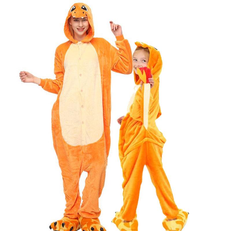 Family Kigurumi Pajamas Orange Dinosaurs Animal Onesie Cosplay Costume Pajamas For Kids and Adults