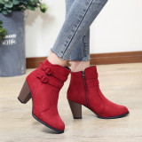 Women's Outside Suede Boots High Thick Heel Round Toe Belts Ladies Short Boots