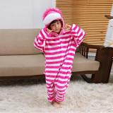 Family Kigurumi Pajamas Pink Stripes Cheshire Cat Animal Onesie Cosplay Costume Pajamas For Kids and Adults