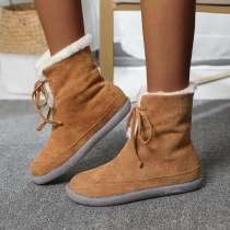Women's Outside Boots Lace-up Plus Fleece Snow Boots Winter Flock Warm Suede Booties