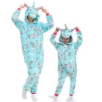Family Kigurumi Pajamas Light Blue Unicorn Onesie Cosplay Costume Pajamas For Kids and Adults