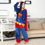 Family Kigurumi Pajamas Blue Super Man With Cape Onesie Cosplay Costume Pajamas For Kids and Adults