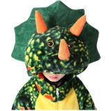 Family Kigurumi Pajamas Green Triceratops Animal Onesie Cosplay Costume Pajamas For Kids and Adults