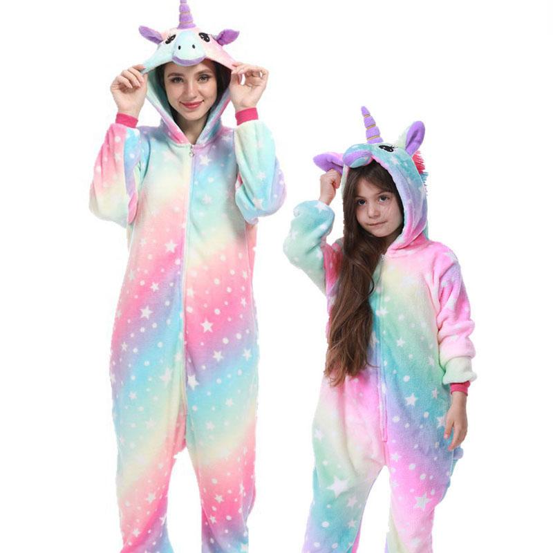 Family Kigurumi Pajamas Rainbow Stars Dots Unicorn Onesie Cosplay Costume Pajamas For Kids and Adults