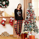 Christmas Family Matching Pajamas Christmas EFL Slogan Top and Red Plaids Pant