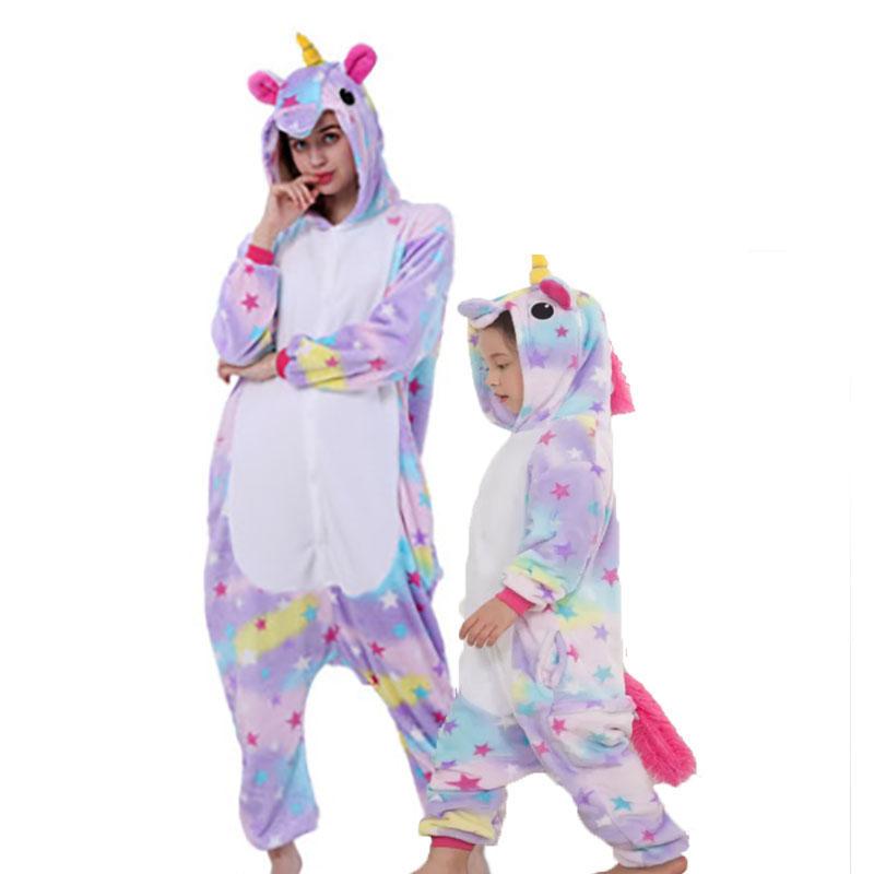 Family Kigurumi Pajamas Purple Stars Unicorn Animal Onesie Cosplay Costume Pajamas For Kids and Adults