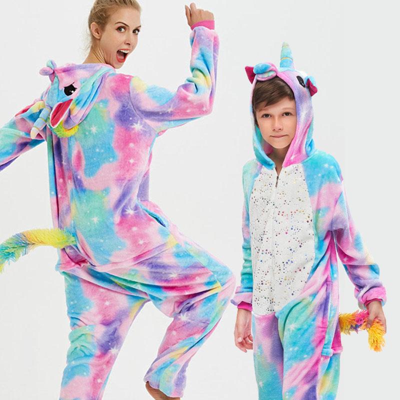 Family Kigurumi Pajamas Sequins Stars Rainbow Unicorn Animal Onesie Cosplay Costume Pajamas For Kids and Adults