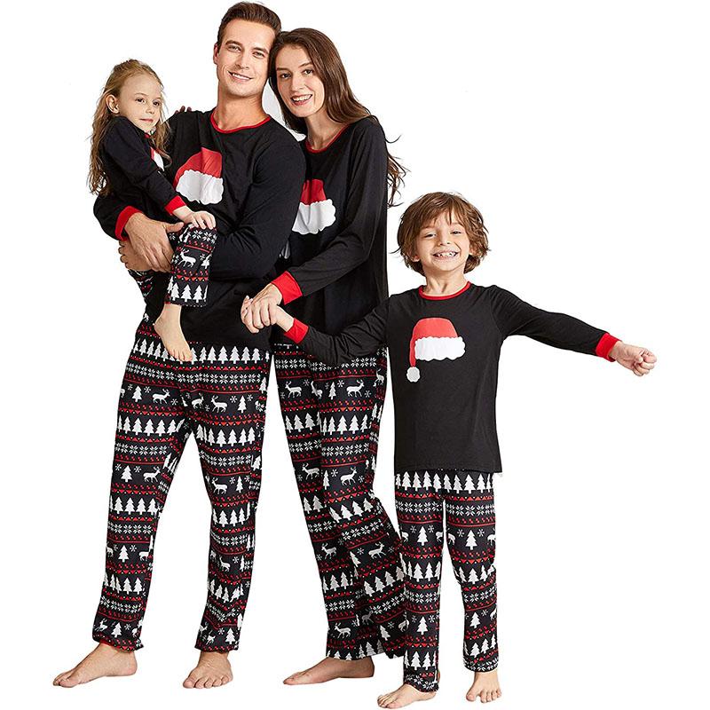 Christmas Family Matching Sleepwear Pajamas Sets Christmas Red Hat Top and Deers Trees Geometrical Pants