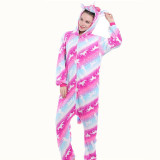 Family Kigurumi Pajamas Rose Matching Color Stars Unicorns Onesie Cosplay Costume Pajamas For Kids and Adults
