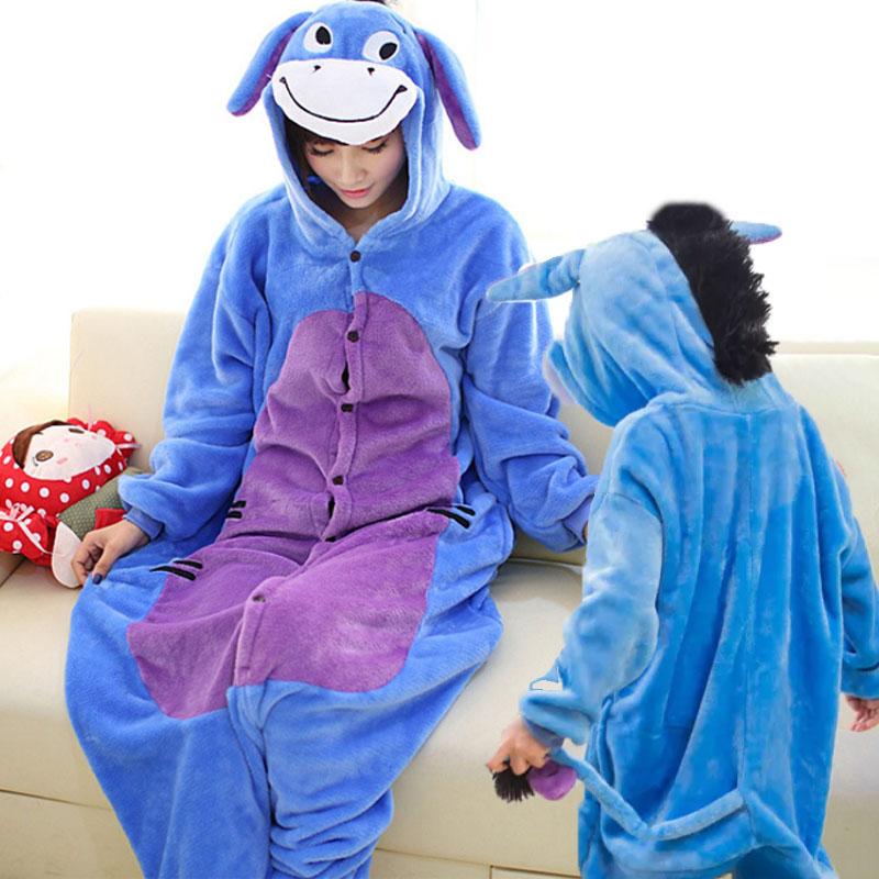 Family Kigurumi Pajamas Blue Donkey Animal Onesie Cosplay Costume Pajamas For Kids and Adults