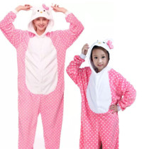 Family Kigurumi Pajamas Pink Dots Hello Kitty Cartoon Onesie Cosplay Costume Pajamas For Kids and Adults