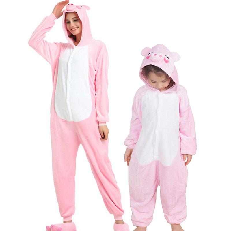 Family Kigurumi Pajamas Pink Pig Animal Onesie Cosplay Costume Pajamas For Kids and Adults
