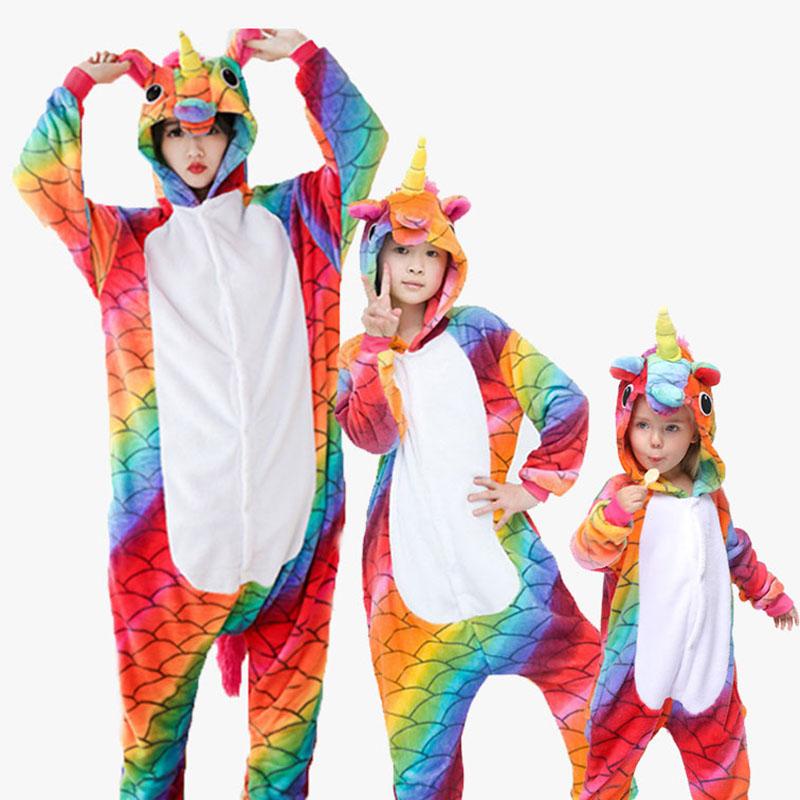 Family Kigurumi Pajamas Rainbow Fish Scale Unicorn Animal Onesie Cosplay Costume Pajamas For Kids and Adults
